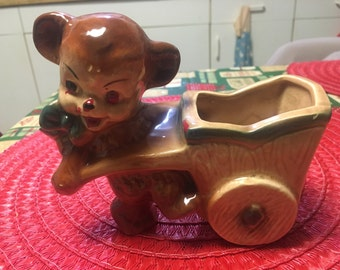 Bear pulling cart Planter