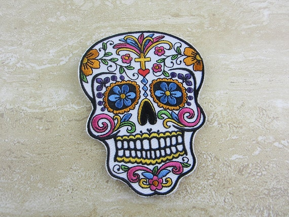 Sugar Skull Patch / White / Sugar Skull Iron-on Patches ...