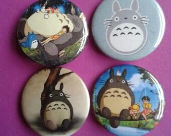 Set of 4 Totoro 25mm badges