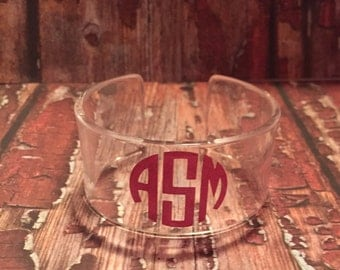 Clear cuff bracelet with glitter monogram