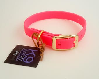 Biothane Dog Collars. Comes in multiple colours with stainless steel hardware. Waterproof dog collar.