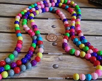 Bright Multi-Color Glass Beads, 8mm. #e-602