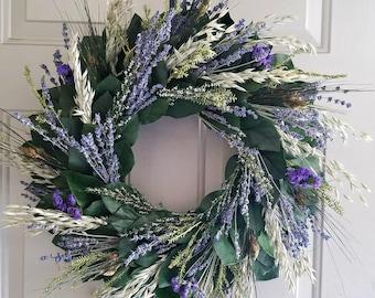 24 inch lavender wreath, preserved lemon leaf wreath, custom sizes, preserved wreath, natural wreath, salal wreath, indoor wreath