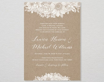 Wedding Invitation Template, Printable Invitation, DIY Rustic Wedding, Kraft Paper, Editable Text, Instant Download, PDF, Digital #025A