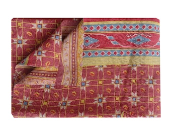 Reversible Twin Size Best Quality Throw Vintage Handmade Kantha Quilt