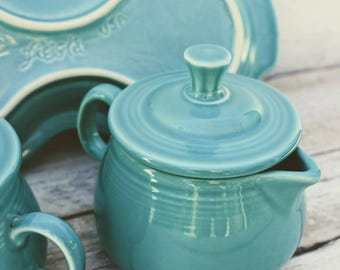 Turquoise Pottery, Fiestaware,  Cream and Sugar  Set with Tray
