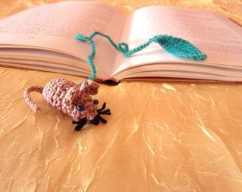 Crocheted bookmarks, bookmark, bookmark, mouse, handmade, OOAK, handmade, unique beige,