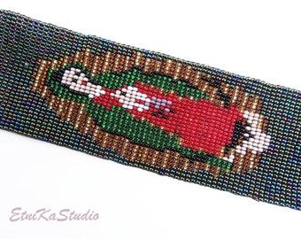 BRACELET cuff BOHO beaded Virgin of Guadalupe Mexican handmade