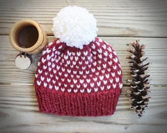 Chunky Knit Heart Hat, Large Pom Pom Beanie, Chunky Knit Pom Hat, Pom Pom Beanie, PomPom Hat, Fair Isle Knit Hat, Winter Beanie Chunky
