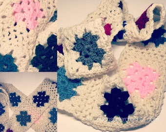 Crochet Infinity Scarf / Granny Square Scarf / Handmade Scarf / Cowl / Loop Scarf / Infinity Scarf / Women's Scarf / Women's Accessories