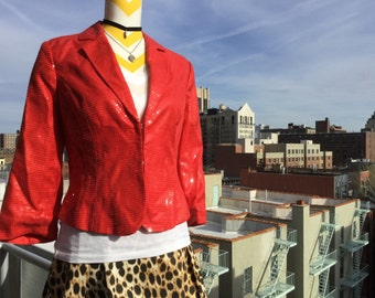 Shiny Happy People - Lipstick Red sequin jacket