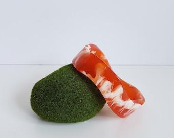 Vintage Orange and White Marbled Lucite Bangle, Free Form Bangle
