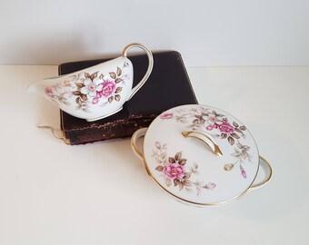 Vintage Wentworth China Cream and Sugar Bowl, Eterna Shape, Summertime Pattern