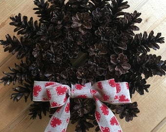 Small 13-14 inch Pine Cone Wreath with wired Valentine Bow