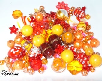 130gr beads mix, mix, red, orange (1025.4)