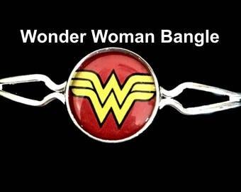 Wonder Woman bangle bracelet,wonder woman,bangle bracelet,bracelet,jewelry,necklaces,earrings,wonder woman,gifts,birthday,theme,charms