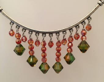 Swarovski Orange And Green Fringe Necklace Set
