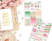 Barnwood Florals - Planner Stickers, Weekly Sticker Set, Quote Stickers, Full Boxes,  Functional Stickers, Decorative Stickers, Half box sti