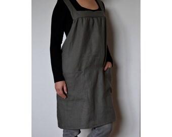Linen apron, linen woman apron, artist smock, pinafore, square cross linen apron, japanese apron, artist apron, plus size apron,womens apron