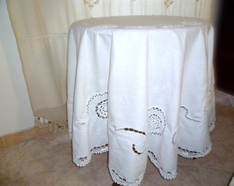 Vintage/Round white round tablecloth tablecloth white vintage