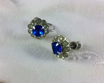 Vintage Blue Rhinestone Screw Back Earrings, Estate Jewelry