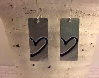 Heart embossed, distressed metal earrings, black heart earrings