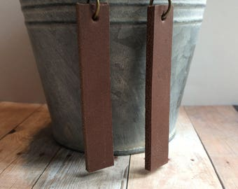 Joanna Gaines inspired leather earrings, brown leather dangle earrings, brown (chunky) leather earrings