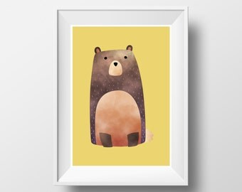 "POSTER. Printable A3 Yellow Poster ""Bear"" for Children Rooms. Instant download PDF."