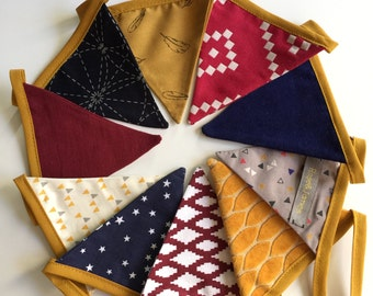 Garland of marine blue, Burgundy and mustard yellow fabric pennants/flags