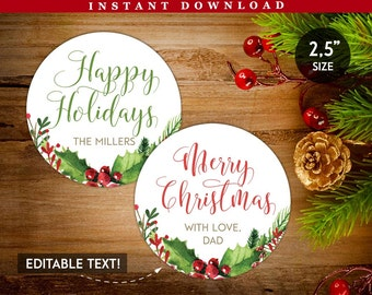 Personalised Round Christmas Tags Printable, Holiday Gift Tags, Happy Holidays Labels, Green Red Tags, Round Christmas Tags, DIY cheap tags