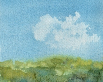 Cloud over Australian Bush , Watercolour Painting, Original Artwork