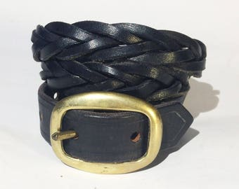 Genuine leather braided belt with metal buckle in great vintage condition