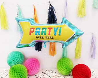 PARTY! OVER HERE Arrow Balloon | birthday | kids birthday | wedding reception | retirement | graduation | celebration | bah mitzvah