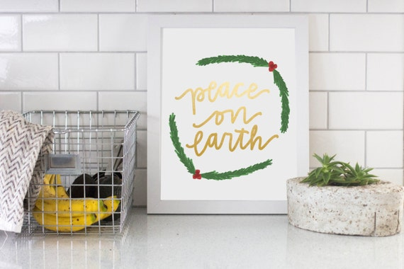 Peace On Earth Gold Foil Digital Download Instant Printable Holiday Decor Easy Christmas Decor