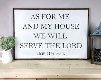 As For Me And My House Sign | Scripture Verse Sign | Bible Verse Sign | Serve The Lord Sign