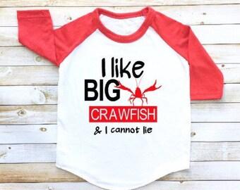 I like big crawfish, Crawfish shirt, toddler raglan, toddler baseball tee, crawfish boil, crawfish season, louisiana, nola, New Orleans