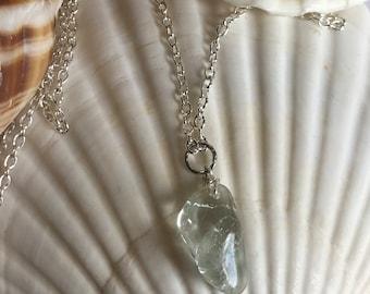Ice Flake Quartz Pendant Necklace • Simple Necklace • Ice Blue