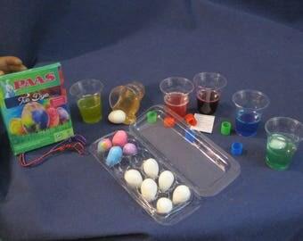 EASTER egg dye kit  for 18 inch Doll/American Girl doll.  A dozen eggs +carton, 6 egg dye colors, 2 egg dippers, 18 inch doll accessories