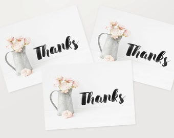 Thank You Cards 6 Pack - Floral Pink Flowers Pretty Set Blank TYPACK001_CP