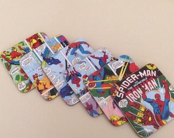 Set of 6 Iron Man & Spider-Man comic coasters