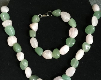 Rose Pink and Mint Green Stone Necklace and Bracelet Set
