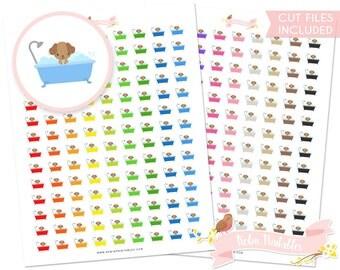 Dog Bath Printable Planner Stickers, Erin Condren, puppy, bathing pets, grooming, kawaii animals. Personal Use Download DIY Sticker PDF