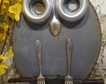 Rustic Wood Slice Owl-Hand made.