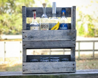 Rustic Whiskey Rack/Pallet Wood/Wall Bar/Whiskey Gift for him/her/wall bar/wine/spirits/home bar