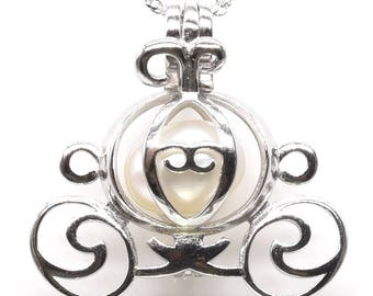 Pumpkin carriage cage pendant, 925 sterling silver cage pendant, freshwater wish pearl cage necklace, locket pendant, 7-8mm, F3020-P