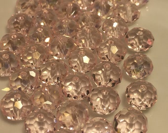 8mm Transparent Pink Faceted Rondelle Crystals  40pc