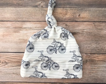 Baby Girl Hat - Bicycle Print - Baby Hat - Baby Girl Hat - Baby Beanie