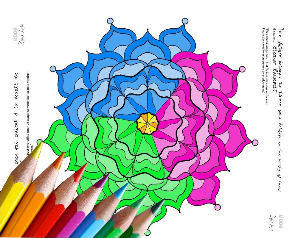 Coloriage adulte antistress Mandala  colorier Lettre ou A4 avec un texte inspirant
