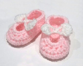 Baby Girl Mary-Jane Bow Shoes, Crocheted, Handmade, Bespoke, Made to Order