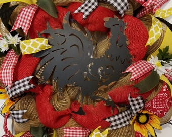Rooster wreath, burlap wreath, country themed wreath